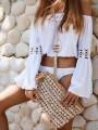 White Patchwork Lace Off Shoulder Bikini Cover Up Chiffon Beach Blouse