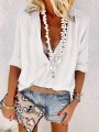 White Single Breasted V-neck Long Sleeve Fashion Blouse