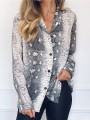 Grey Snake Skin Print Single Breasted Chiffon Long Sleeve Fashion Blouse