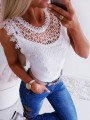 White Patchwork Lace Cut Out Round Neck Sleeveless Blouse