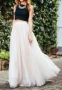 White Plain Grenadine Elastic Waist Mid-rise Fashion Skirt