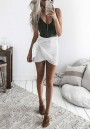 White Irregular Drawstring Waist Sweet Cotton Skirt