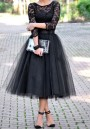Black Grenadine Pleated Tulle Tutu High Waisted Skirt