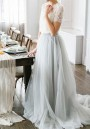 Light Grey Patchwork Grenadine High Waisted Plus Size Fashion Long Tutu Maxi Skirt