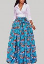 Blue Floral Print Pleated Tutu African High Waist Flared Party Maxi Skirt