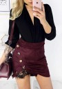 Burgundy Patchwork Irregular Lace Buttons High Waisted Fashion Skirt