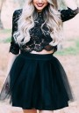 Black Grenadine Fluffy Puffy Tulle Homecoming Party High Waisted Cute Skirt