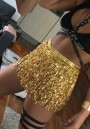 Golden Sequin Tassel Belt Bow Club High Waisted Fashion Mini Skirt