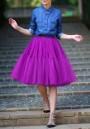 Purple Draped Grenadine High Waist Tutu Party Elastic Waist Sweet Skirt