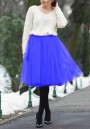 Royal Blue Grenadine Pleated High Waisted Fluffy Tulle Tutu Cute Homecoming Midi Skirt