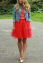 Red Grenadine Draped High Waisted Fluffy Puffy Tulle Tutu Cute Homecoming Party Skirt