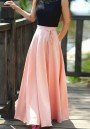 Pink Sashes Draped Elastic Waist High Waisted Bohemian Long Skirt