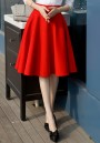 Red Draped Plus Size Hepburn Elegant High Waisted Skirt