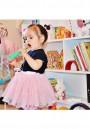 Pink Grenadine Sashes Elastic Waist Cute Children Skirt