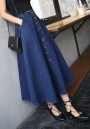Dark Blue Pockets Draped Single Breasted A-Line Going out Skirt