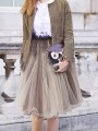 Khaki Grenadine Pleated Fluffy Puffy Tulle High Waisted Going out Skirt