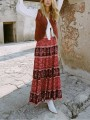 Red Floral Print Pleated High Waisted Bohemian Casual Flowy National Long Skirt