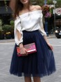 Navy Blue Patchwork Grenadine Pleated Tutu Homecoming Party Cute Elegant Midi Skirt