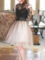 Brown Patchwork Grenadine Pleated Plus Size High Waisted Tutu Cute Homecoming Party Skirt