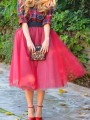 Red Patchwork Grenadine Pleated Plus Size High Waisted Tutu Cute Homecoming Party Skirt