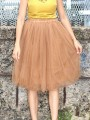 Orange Patchwork Grenadine Pleated Plus Size High Waisted Tutu Cute Homecoming Party Skirt