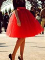Red Grenadine High Waisted Tulle Tutu Homecoming Christams Party Cute Elegant Skirt