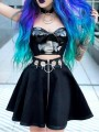 Black Patchwork Chain Pleated Zipper High Waisted Skater Tutu Rosatic Witch Vintage Skirt