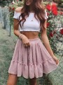 Pink Polka Dot Ruffle Drawstring Waist High Waisted Flowy Skater Tutu Short Skirt