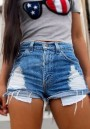 Light Blue Hollow-out Buttons High Waisted Short Jeans