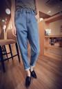 Blue Pockets Boyfriend Slacks High Waisted Mom Casual Long Jeans