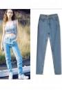 Light Blue Zipper High Waisted Long Jeans
