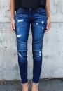 Dark Blue Pockets Zipper Mid-rise Long Jeans