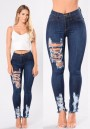 Dark Blue Zipper High Waisted Ripped Destroyed Skinny Long Jeans
