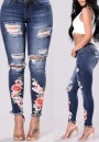 Dark Blue Floral Zipper High Waist Ripped Destroyed Skinny Denim Long Jeans