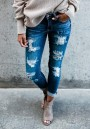 Light Blue Cut Out Pockets Zipper High Waisted Long Jeans