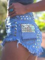 Blue Buttons Pockets Rivet Plus Size Ripped Denim Going out Clubwear Short Jeans