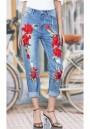 Light Blue Embroidery Zipper High Waist Long Jeans