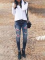 Blue Plaid Cut Out Buttons Pockets High Waisted Mom Boyfriend Casual Long Jeans