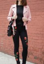 Black Patchwork Zipper Embroidery Pockets Fashion Long Jeans