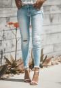 Light Blue Buttons Cut Out Pockets Zipper Fashion Long Jeans