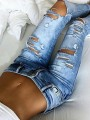 Light Blue Pockets Cut Out Mid-rise Fashion Long Jeans