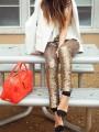 Golden Plain Sequin Elastic Waist Long Leggings