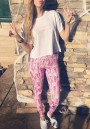 Pink Floral Elastic Waist High Waisted Casual Legging