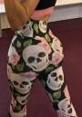 Multicolor Skull Print High Waisted Long Sports Legging