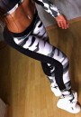 Black White Camouflage Print High Waisted Sports Yoga Workout Long Legging