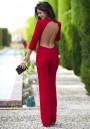 Red Plain Cut Out Backless 3/4 Sleeve Sexy Long Jumpsuit