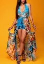 Blue Floral Print Halter Neck V-neck Plunging Neckline Backless Swallowtail Maxi Chiffon Romper with Maxi Overlay