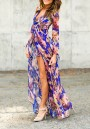 2348eac645b1 Blue Floral Irregular High-Low Swallowtail High Waisted Boho Long Sleeve  Plus Size Short Chiffon Romper Playsuit With Maxi Overlay