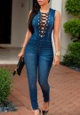 Dark Blue Plain Drawstring Bandage Zipper Bodysuit Sexy Skinny Pencil Jeans Jumpsuit