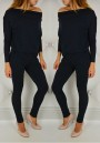 Black Plain Pockets Boat Neck Long Sleeve Long Jumpsuit